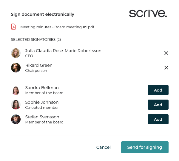 Digital signing for Board of Directors
